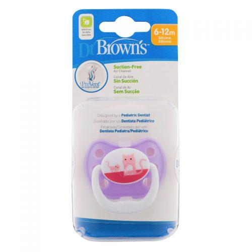 Dr Browns smoczek prevent classic 6-12 miesięcy 1 szt  kolorystyka dla dziwczynki kotek