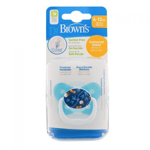 Dr Browns smoczek prevent motyl 6-12miesięcy niebiesk wzorek 1szt