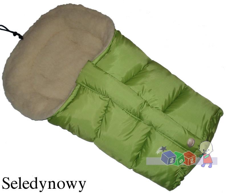 Śpiworek do wózka z owczą wełną, przedłużany 90-110 cm kolor Pistcja