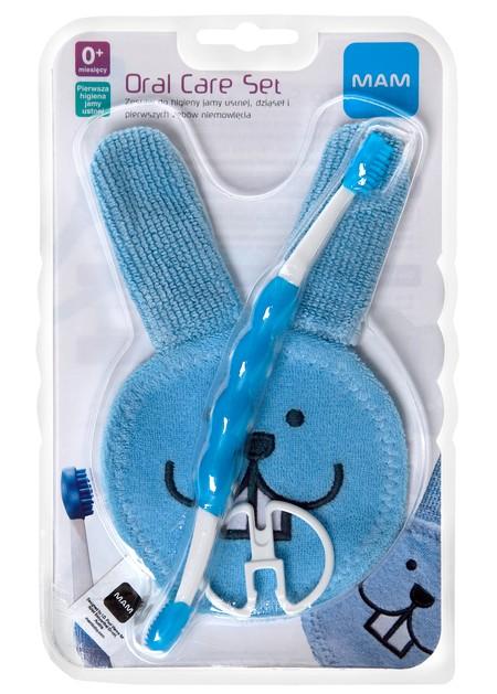 Zestaw do mycia zębów i dziąseł szczotka + masująca rękawiczka Mam kolor niebieski