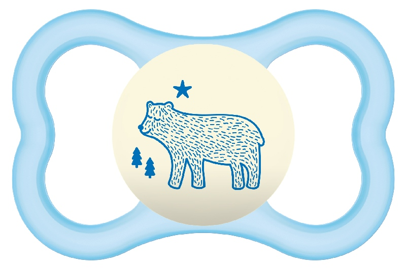 Smoczek uspokajający Mam Air Night 16m+ błękitny niedźwiedź
