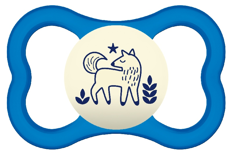 Smoczek uspokajający Mam Air Night 16m+ niebieski wilk