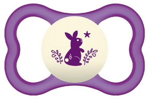 Smoczek uspokajający dla niemowląt Mam Air Night 16m+ fioletowy królik