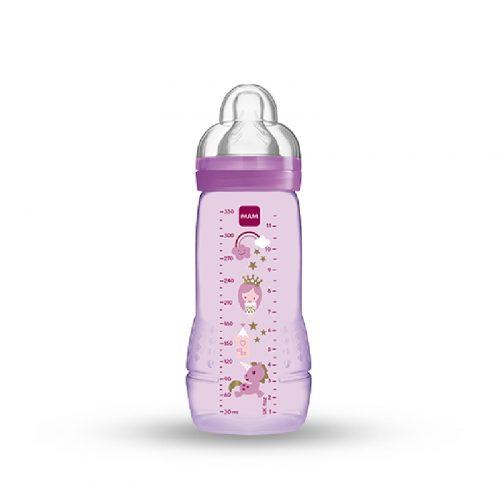 Wysokiej jakości butelka dla niemowląt 4m+ Mam Baby Bottle Fairytale 330ml fioletowa