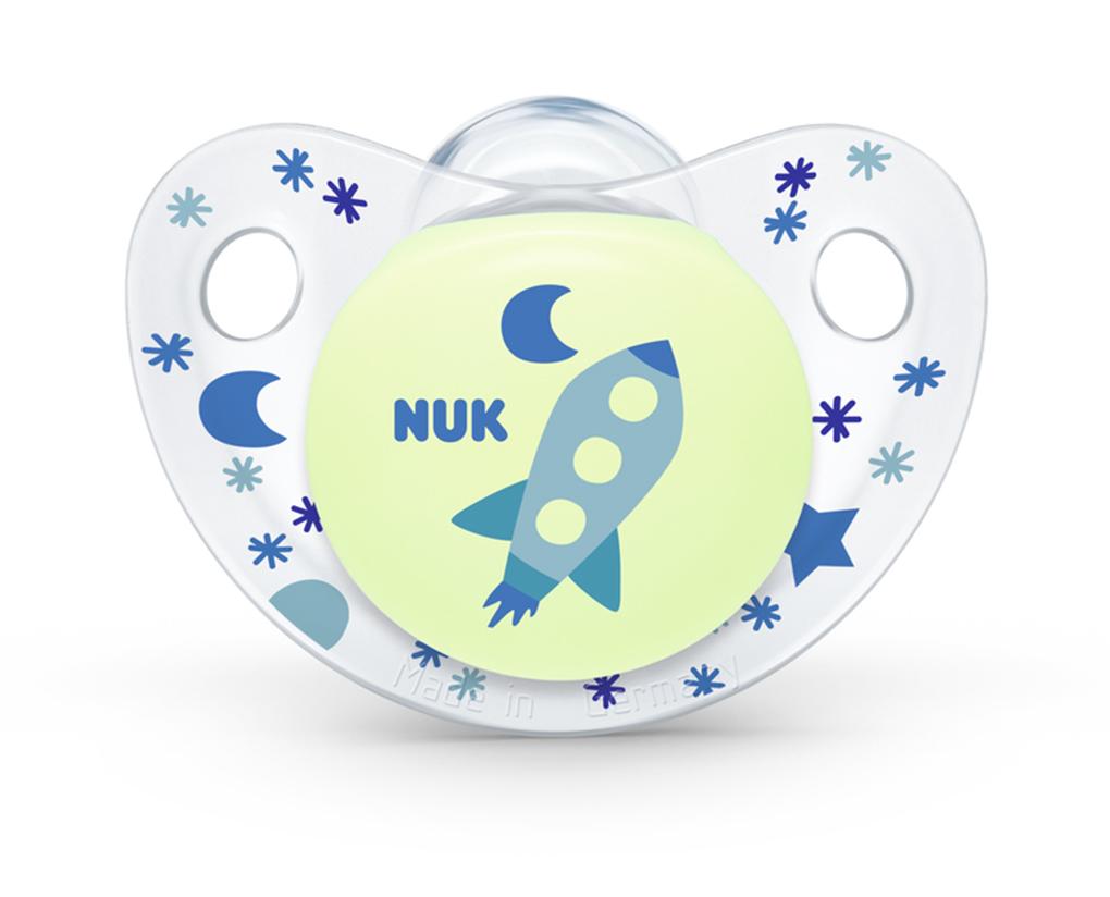 Nuk Trendline Night&Day 18-36 smoczek silikonowy 2 szt rakieta i noc