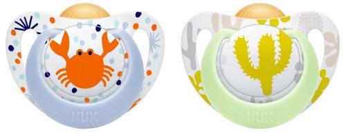 NUK Smoczek uspokajający lateksowy Genius Color 2szt. 0-6 krab i kaktus