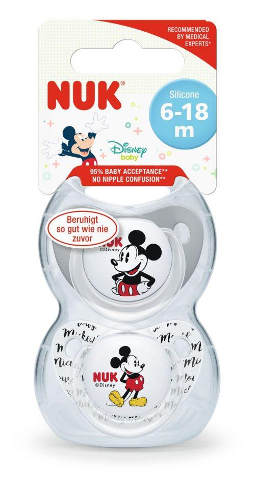 Smoczek uspokajający silikonowy 6-18 miesięcy Disney Myszka Miki 2 szt szary i przezroczysty