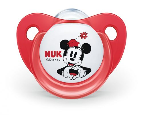 Smoczek uspokajający silikonowy 6-18 miesięcy Disney Myszka Miki 2 szt czerowny i przeźroczysty