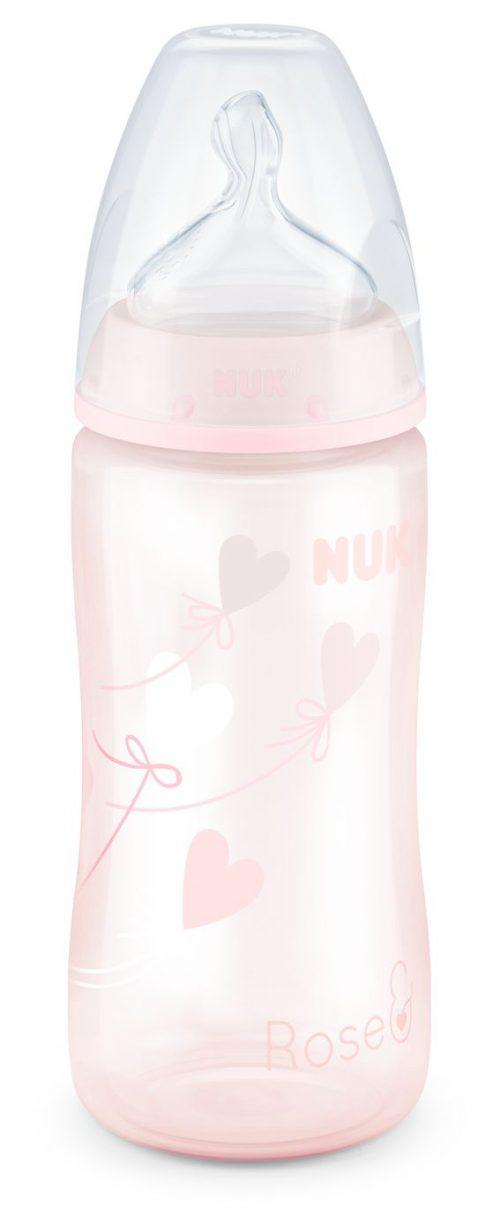 Butelka do karmienia Nuk Baby Rose 300 ml ze smoczkiem silikonowym 0-6 miesięcy 1M do mleka modyfikowanego serca