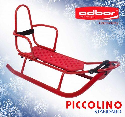 Sanki z wysokim oparciem Piccolino szeroka płoza Adbor Czerwony
