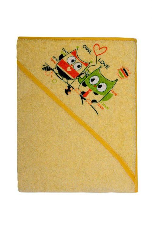Drukowane okrycie kąpielowe frotte max 100x100 Duet baby Żółty