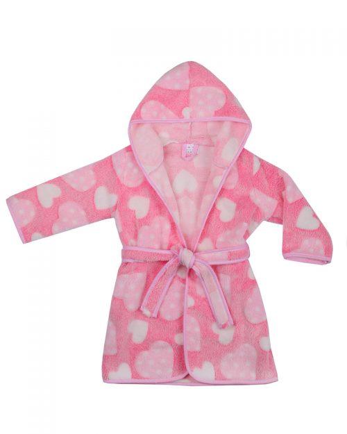 Szlafrok kąpielowy dla dziecka Coral Flece 104-116, Duet Baby Różowy