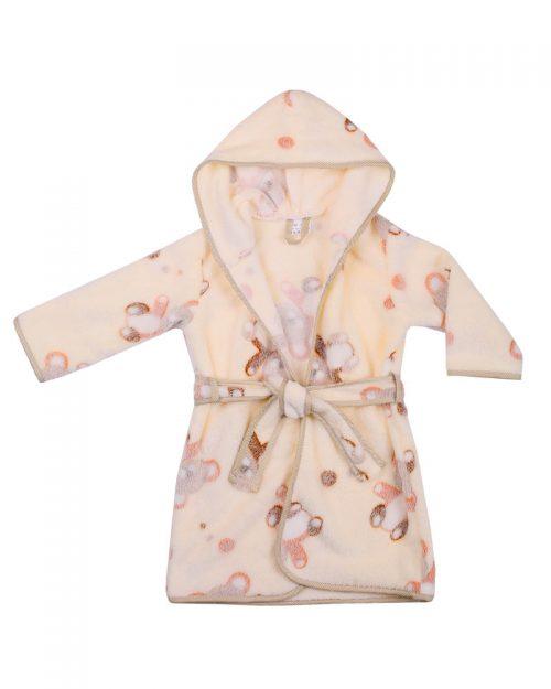 Szlafrok kąpielowy dla dziecka Coral Flece 104-116, Duet Baby Ecru