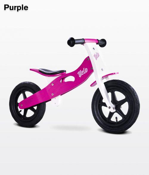 Drewniany rowerek biegowy Velo dla dzieci od 3-6 roku życia, Toyz Purple