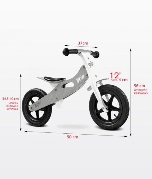 Drewniany rowerek biegowy Velo dla dzieci od 3-6 roku życia, Toyz Blue