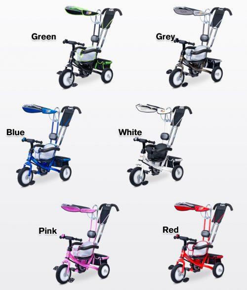 Trzykołowy rowerek  z daszkiem i raczką do pchania dla dzieci Derby, Toyz Grey