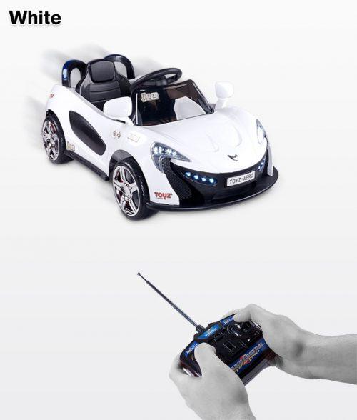 Samochód na akumulator ze światłami LED,melodie, pilot dla rodzica dla dzieci Aero, Toyz White