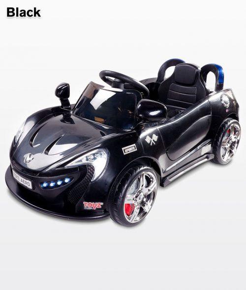 Samochód na akumulator ze światłami LED,melodie, pilot dla rodzica dla dzieci Aero, Toyz Black