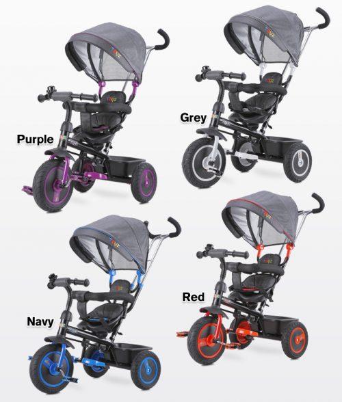 Rowerek 3-kołowy Buzz z obracanym siedziskiem, daszekm i koszykiem na zakupy - Toyz Red