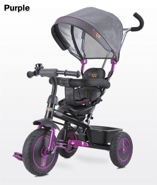 Rowerek 3 kołowy Buzz z obracanym siedziskiem, daszekm i koszykiem na zakupy - Toyz Purple