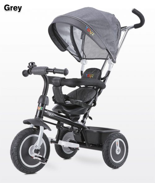 Rowerek 3-kołowy Buzz z obracanym siedziskiem, daszekm i koszykiem na zakupy - Toyz Grey