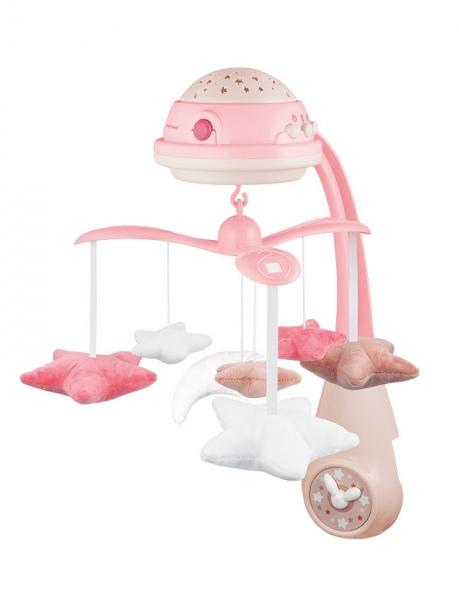 Karuzela nad łóżeczko z projektorem i pozywką Canpol babies różowa z pilotem