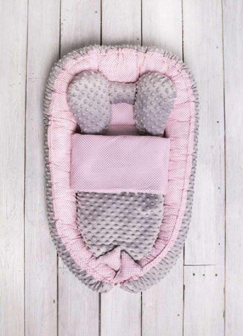 Kokon dla niemowlaka z kołderką Sweet baby różowy Belisima
