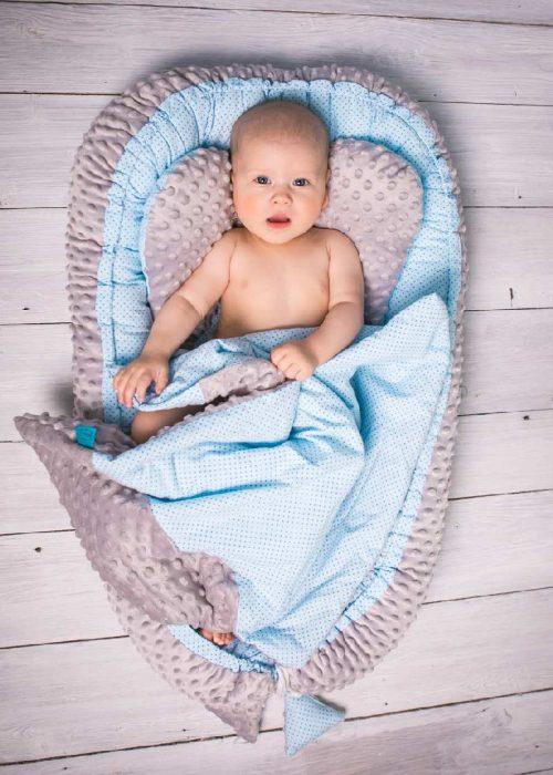 Kokon niemowlęcy z kołderką Sweet baby niebieski
