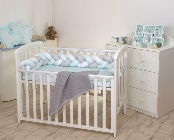 Warkocz do łóżeczka dziecięcego ochraniacz biały mięta szary Amy