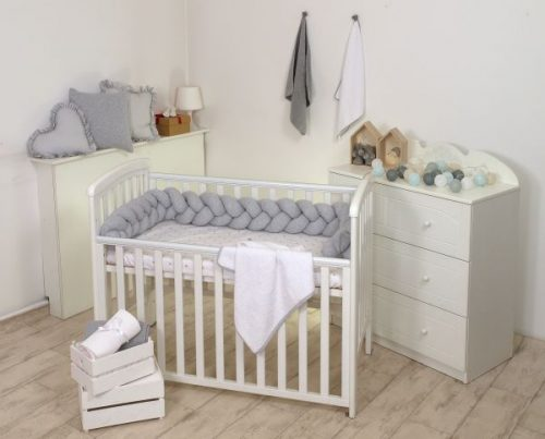 Warkocz do łóżeczek dziecięcych - ochraniacz łóżeczka szary Amy