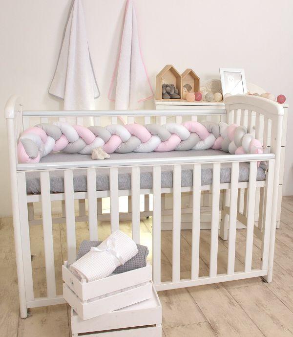 Warkocz do łóżeczka dziecięcego ochraniacz łóżeczka biały róż szary Amy