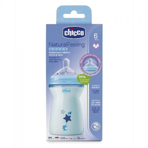 Chicco butelka plastikowa naturalfeeling 330 ml niebieska smoczek silikonowy, przepływ szybki 6+