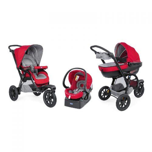 Trójkołowy sportowy wózek 3w1 Activ3 Trio firmy Chicco Red Berry