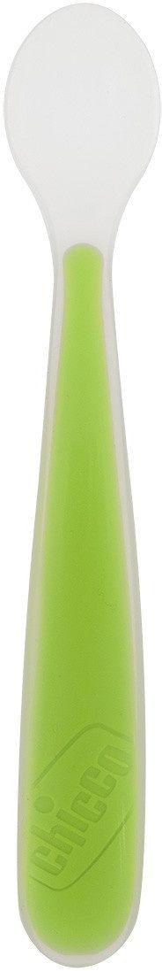 Chicco miękka łyżeczka silikonowa zielona  6 m+