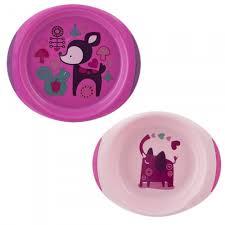 2 talerze dla dzieci, talerz różowy dla dziecka Chicco Dishes
