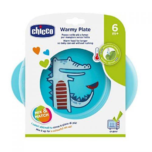 Podgrzewany talerz dla dzieci niebieski Chicco 6m+