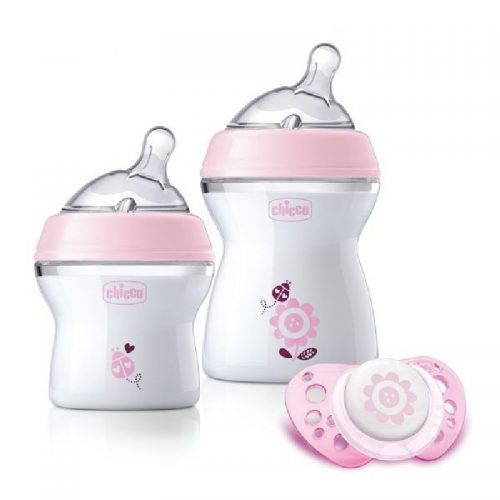 Zestaw butelek NaturalFeeling 150+250 + smoczek uspokajajacy physio 0+ Chicco kolor róż