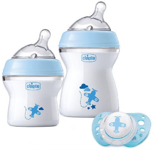 Zestaw butelek do karmienia NaturalFeelink 150 +250 ml + smoczek Physio 0+ Chicco