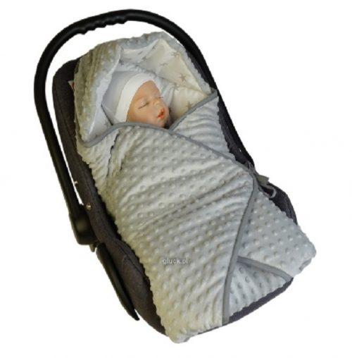 Rożek niemowlęcy z kapturkiem Gwiazdki Gluck Szary kocyk do fotelika samochodowego