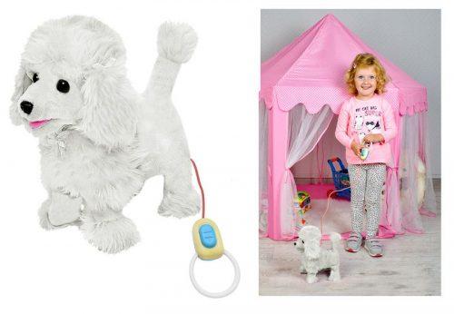 Zabawka interaktywny pudel piesek  na smyczy.Szczeka, chodzi, macha ogonem kolor biały