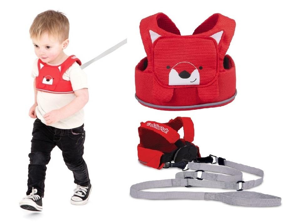 Bezpieczne szelki do nauki chodzenia lub nauki jazdy na nartach TODDLEPAK  firmy Trunki Czerwony