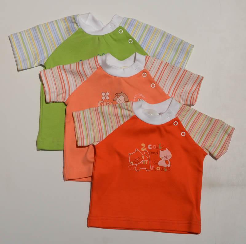 Śliczne pastelowe koszulki niemowlęce z bawełny Szwat 68 Koralowy