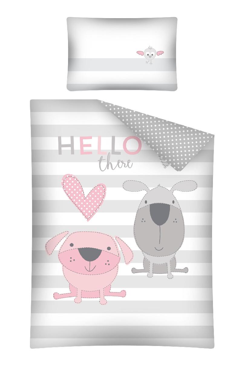 Pościel 135x100 do łóżeczek dziecięcych 2 elementy Pieski Hello różowe