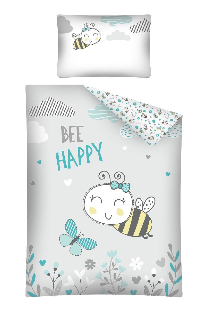 Pościel 135x100 do łóżeczek dziecięcych 2 elementy pszczółka Bee Happy turkus