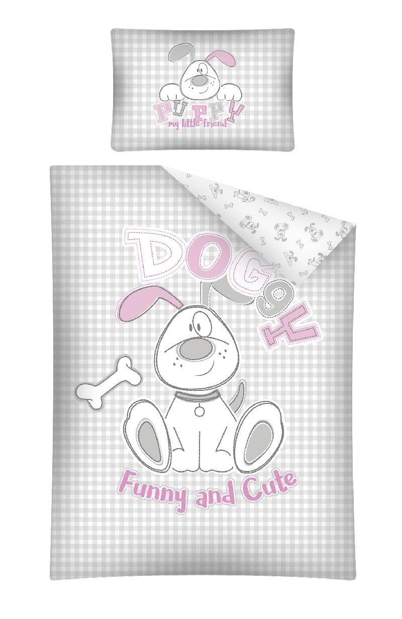 Pościel 135x100 do łóżeczek dziecięcych 2 elementy Doggy Fun Cute różowa