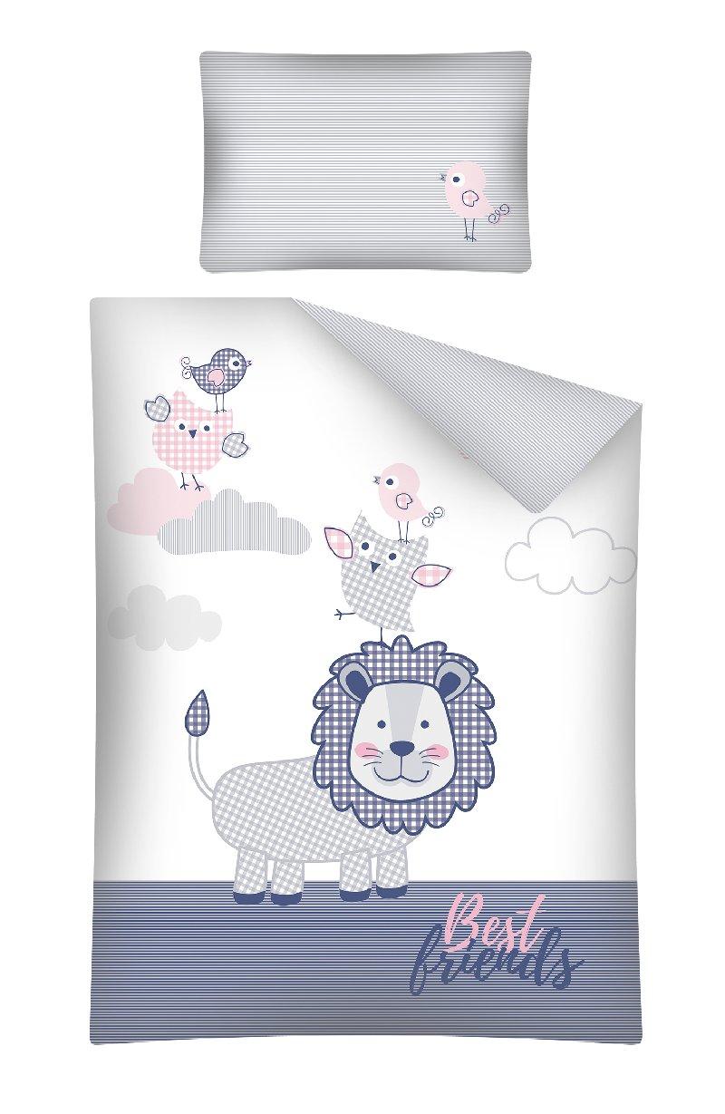 Pościel 135x100 do łóżeczek dziecięcych 2 elementy Le best Friends różowa