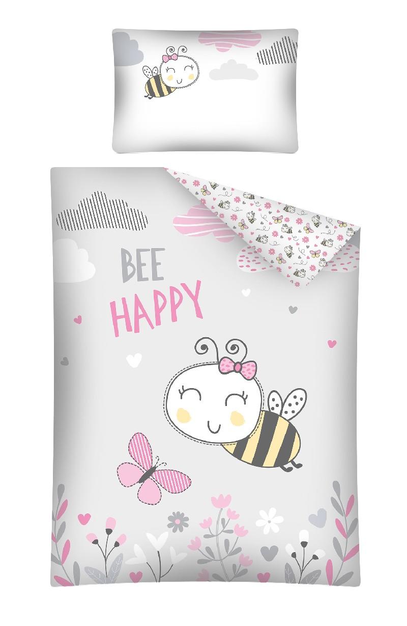 Pościel 135x100 do łóżeczek dziecięcych 2 elementy Pszczółka Bee Happy różowa