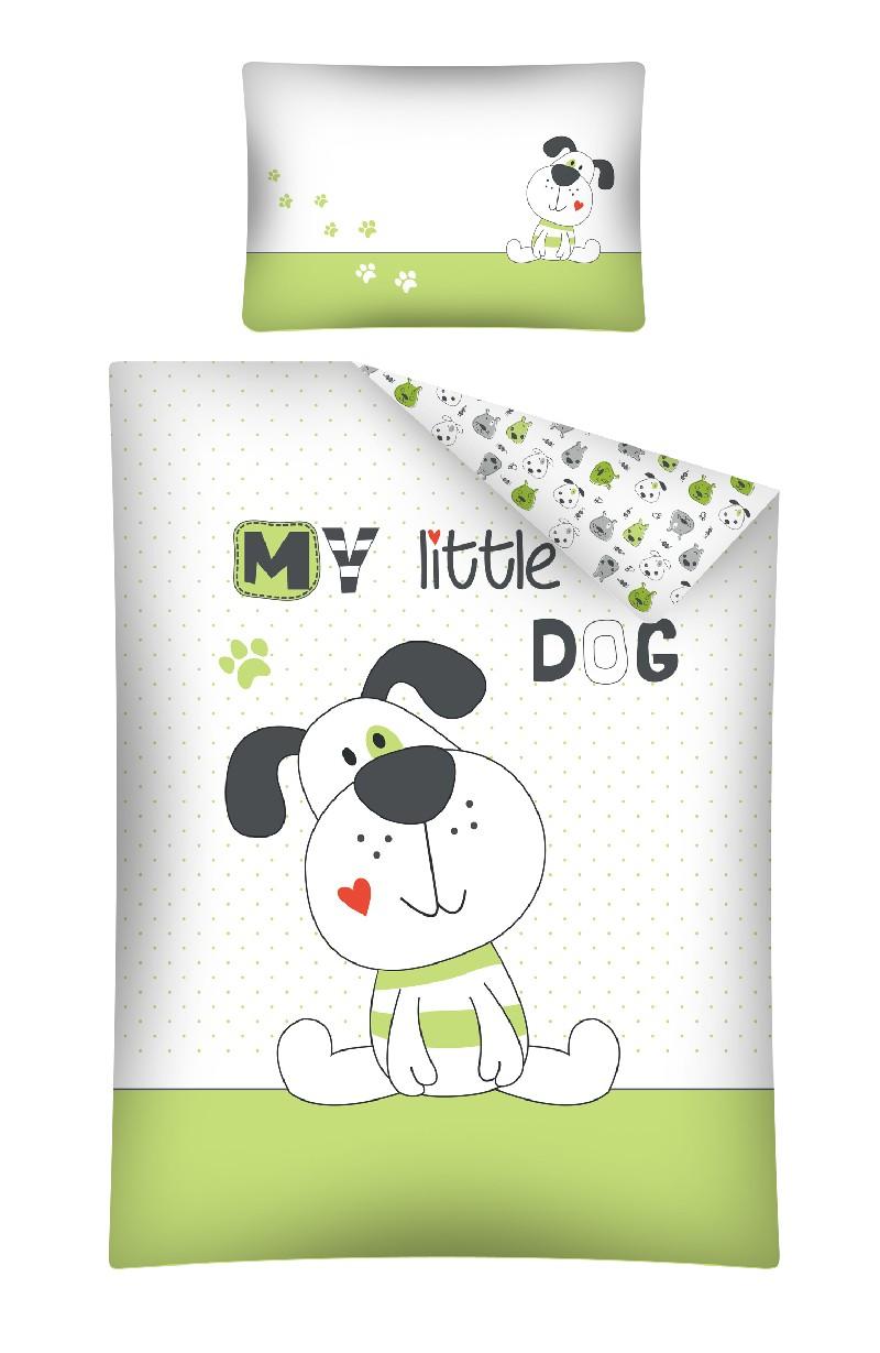 Pościel 135x100 do łóżeczek dziecięcych 2 elementy My little Dog zielona