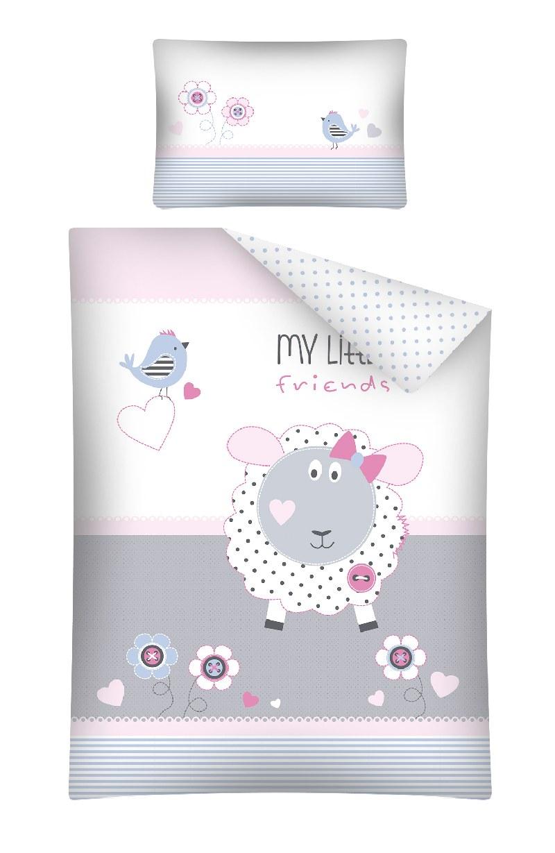 Pościel 135x100 do łóżeczek dziecięcych 2 elementy My little Friends różowa