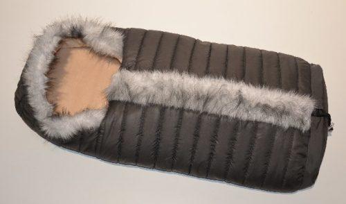 Polarowy śpiworek zdobiony futerkiem do wózka dopinany 90 lub 110  cm